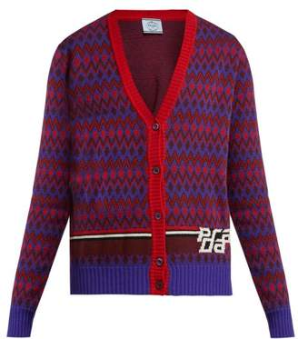 Prada - Chevron Patterned Wool Blend Cardigan - Womens - Red Multi