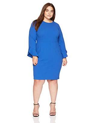 Donna Morgan Women's Plus Size Long Ruffle Sleeve Sheath Dress