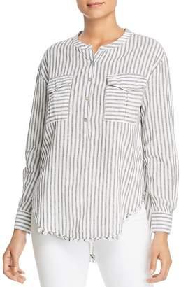 Elan International Ticking Striped Henley Top