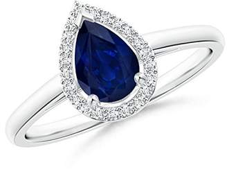 Angara.com September Birthstone - Diamond Halo Pear Shaped Blue Sapphire Cocktail Ring in 14K White Gold (7x5mm Blue Sapphire)