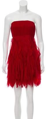 Alice + Olivia Silk Raw-Edge Dress