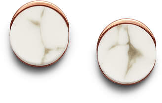 Fossil White Reconstituted Marble Rose Gold-Tone Steel Studs
