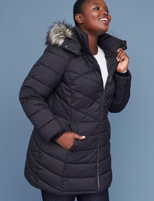 Lane Bryant Fur-Trim Hooded Puffer Jacket - Black