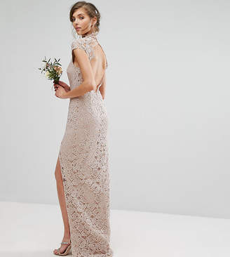 TFNC Tall Tall Wedding High Neck Lace Dress With Cap Sleeve