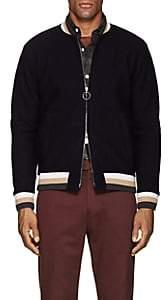 Eleventy Men's Striped Wool Bomber Jacket-Navy