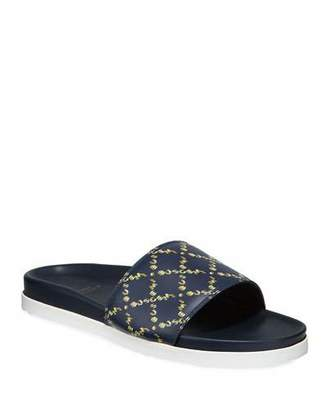 Buscemi Men's Monogram Leather Slide Sandal