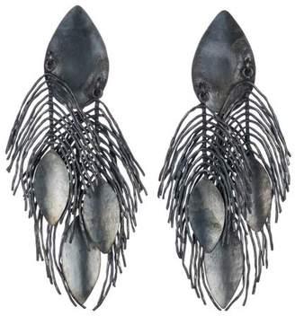 Josie Natori Brass Metallic Peacok Feather Earrings