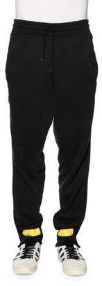 Off-White Drawstring Sweatpants w/Arrows, Black/Yellow $480 thestylecure.com