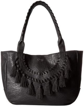 Jessica Simpson Womens Laurel Faux Leather Shopper Tote Handbag Large