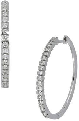 Bony Levy 18K White Gold Diamond 25mm Hoop Earrings - 0.45 ctw