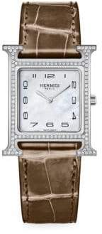 Hermes Heure H Stainless Steel& Diamond Alligator Leather Strap Watch