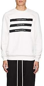 Rick Owens Men's Appliquéd Cotton Fleece Sweatshirt-White