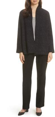 Eileen Fisher High Collar Textured Cotton Blend Jacket