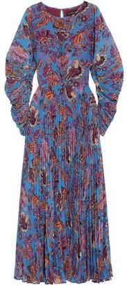 Etro Printed Plissé Georgette Maxi Dress