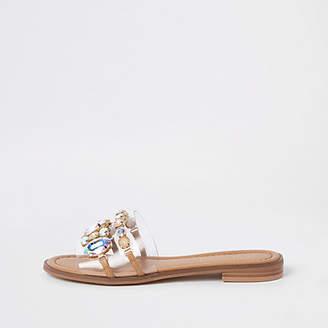 River Island Beige jewel embellished flat sandals