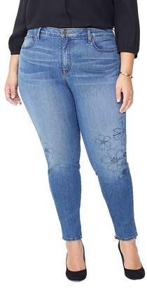 NYDJ Plus Ami Skinny Ankle Jeans with Floral Fauna Embroidery