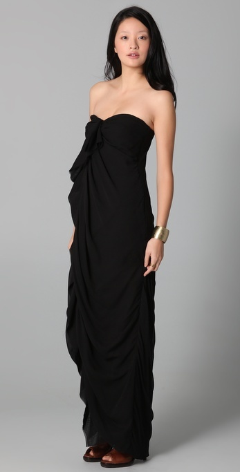 Obakki Strapless Draped Dress