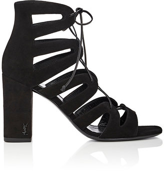 "Saint Laurent Women's ""Babies"" Suede Lace-Up Sandals $995 thestylecure.com"