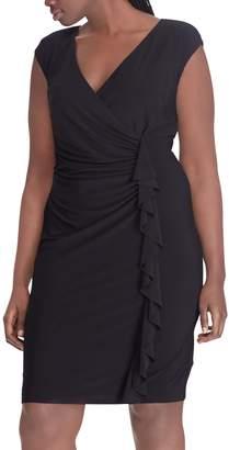 Chaps Plus Size Ruffled Faux-Wrap Dress