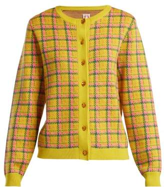 Shrimps - Bernard Checked Wool Cardigan - Womens - Yellow Multi