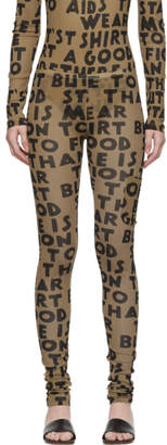 MM6 MAISON MARGIELA Beige Text Print Leggings