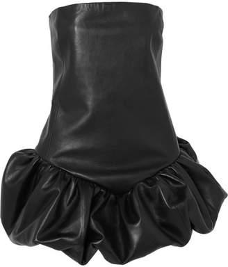 Strapless Leather Mini Dress - Black