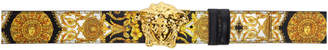 Versace Reversible Black and Gold Printed Medusa Belt