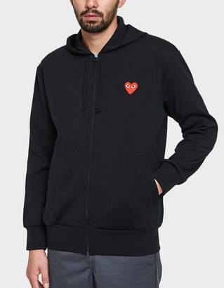 Comme des Garcons Play Zip Hooded Sweatshirt in Black