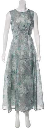 Oscar de la Renta 2016 Silk-Blend Midi Floral Print Dress w/ Tags