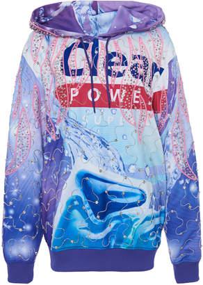Moschino Jewel-Embellished Printed Hooded Sweatshirt