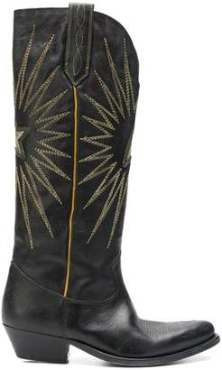 Golden Goose black knee length embroidered boots