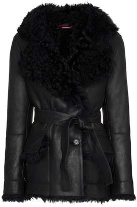 Sies Marjan double-breasted belted leather coat