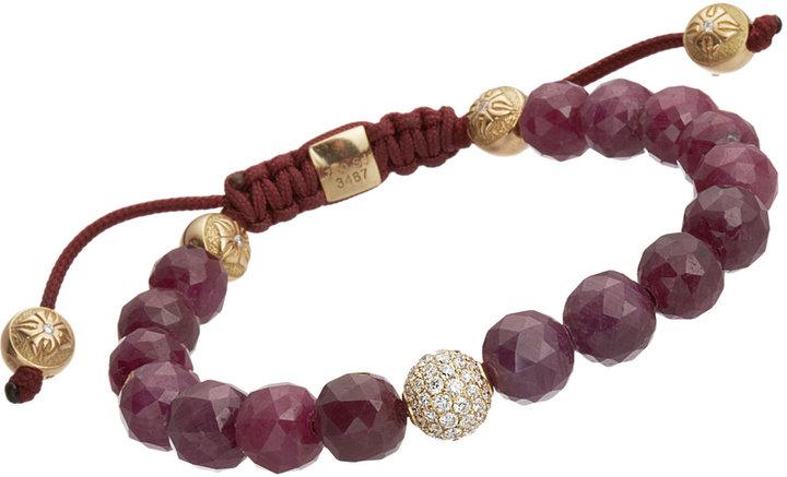 Shamballa Jewels Faceted Ruby & Diamond Bead Bracelet