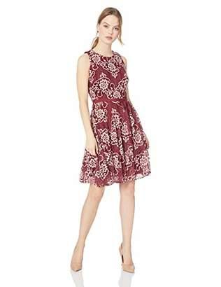 Gabby Skye Women's Petite Belted Floral Lace Dress