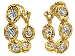 Oasis Gumuchian 18K Yellow Gold Diamond Small Curve Earrings