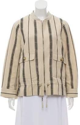 Tory Burch Silk Linen Bomber Jacket