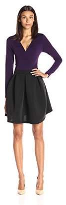 Lark & Ro Amazon Brand Women's Long Sleeve Wrap Front Shadow Stripe Flare Dress