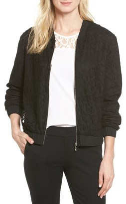 Women's Cece Lace Bomber Jacket $139 thestylecure.com