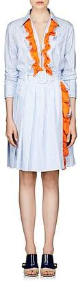 Prada Women's Striped Cotton Poplin Shirtdress - Blue