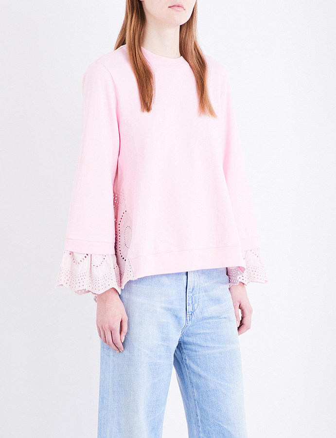 CluClu Broderie anglaise cotton-jersey sweatshirt