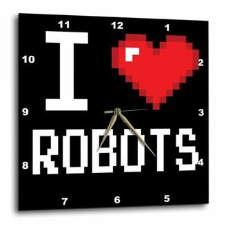 3dRose Geeky Old School Pixelated Pixels 8-Bit I Heart I Love Robots, Wall Clock, 10 by 10-inch