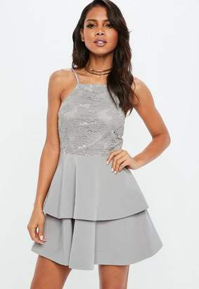 Missguided Gray 90s Neck Lace Frill Skater Dress