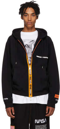 Heron Preston Black Handle With Care Zip-Up Hoodie