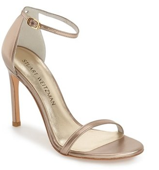 Women's Stuart Weitzman 'Nudistsong' Ankle Strap Sandal $398 thestylecure.com