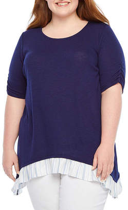Alyx Short Sleeve Twofer Knit Blouse - Plus