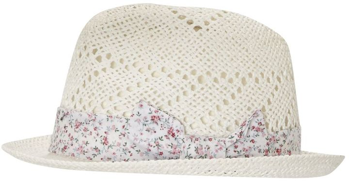 Straw Fedora With Floral Print Band
