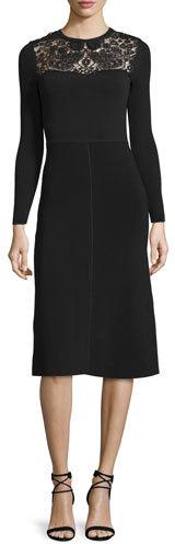 RED ValentinoRED Valentino Long-Sleeve Macrame-Inset Dress, Black