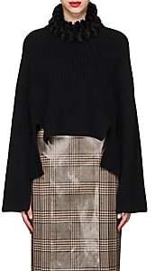 Fendi Women's Mink-Fur-Trimmed Cashmere Sweater - Black