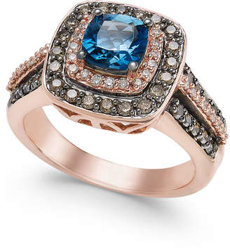LeVian Le Vian Chocolatier London Blue Topaz (1 ct. t.w.) and Diamond (3/4 ct. t.w.) Ring in 14k Rose Gold