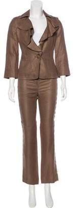 Valentino Linen Straight-Leg Pant Suit